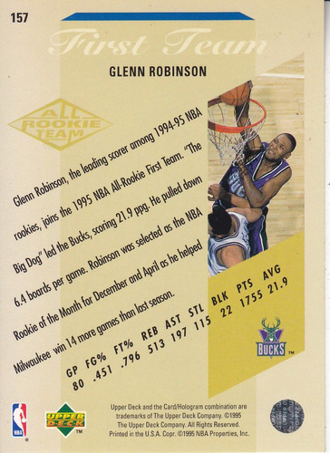 1995-96 upper deck electric court gold glenn robinson bucks