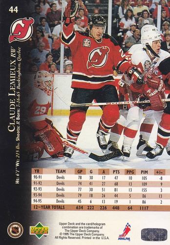 1995-96 upper deck electric ice gold claude lemieux devils