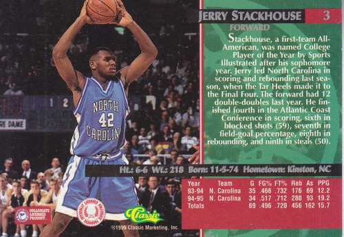1995 classic rookies jerry stackhouse sixers