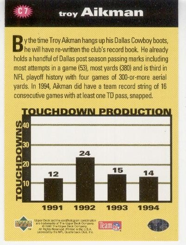 1995 col choice crash the game silver troy aikman cowboys