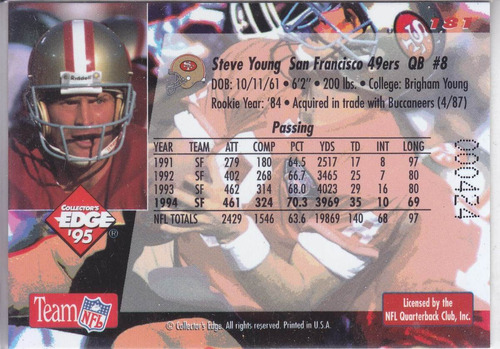 1995 edge gold steve young qb 49ers