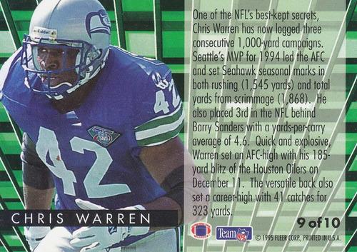 1995 fleer gridiron leaders chris warren rb seahawks