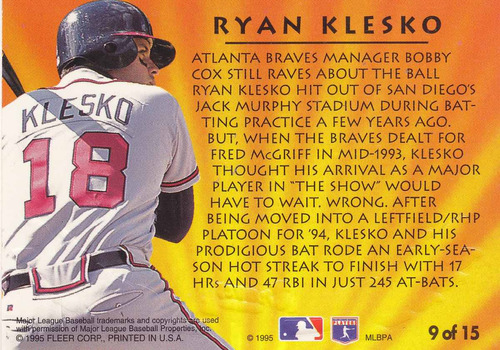 1995 fleer ultra 2nd year standouts ryan klesko braves