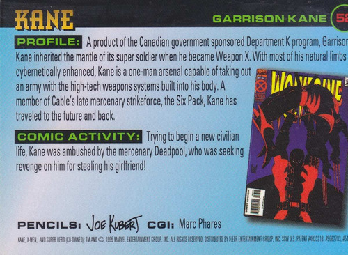 1995 fleer ultra marvel xmen kane #52