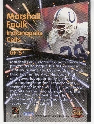 1995 pacific g - force marshall faulk indianapolis colts
