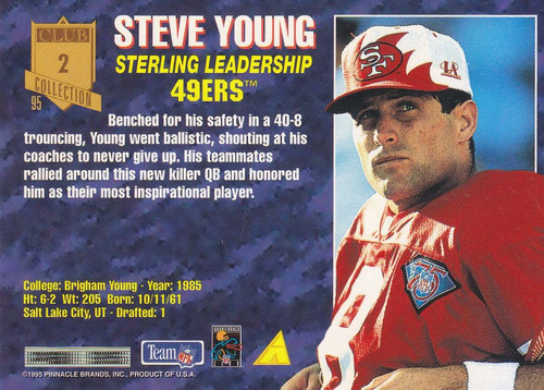 1995 pinnacle club collection sterling leader steve young qb