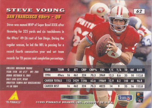 1995 pinnacle steve young qb 49ers