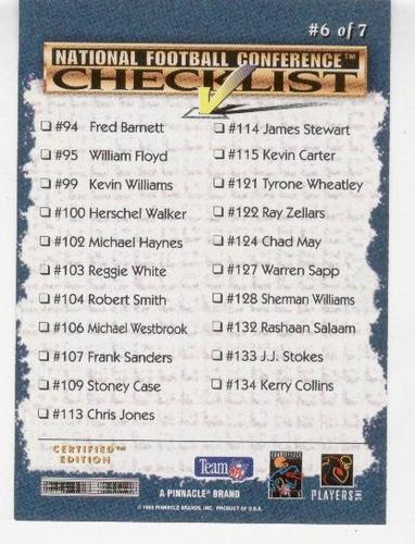 1995 select checklist steve young san francisco 49ers