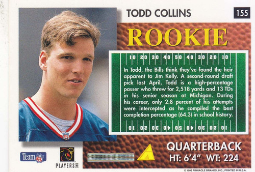 1995 summit rookie todd collins qb bills