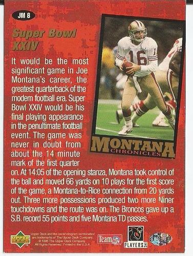 1995 ud collectors choice montana chronicles qb 49er #8
