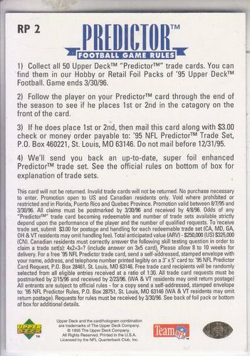 1995 upper deck predictor league leaders steve young qb 49er