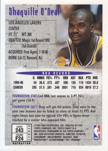 1996-97 finest bronze refractor shaquille o'neal lakers