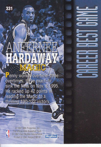 1996-97 hoops career best game anfernee hardaway magic