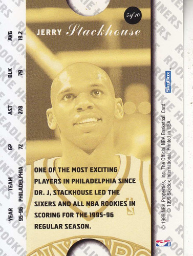 1996-97 rookie headliners jerry stackhouse sixers