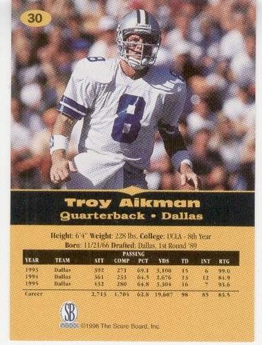 1996 97 score board all sport ppf troy aikman cowboys