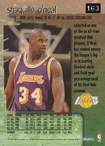 1996-97 skybox premium shaquille o'neal lakers