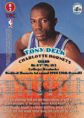 1996-97 stadium club rookies tony delk hornets