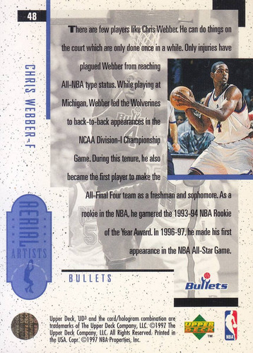 1996-97 ud3 aerial artists chris webber bullets