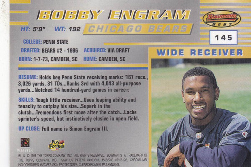 1996 bowman's best rookie bobby engram wr bears