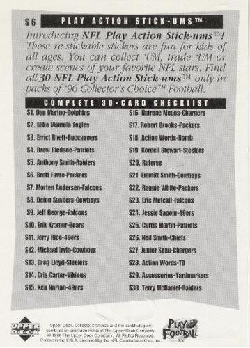1996 collector's choice stick- ums brett favre packers qb