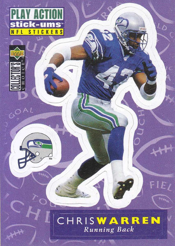 1996 collector's choice stick ums chris warren rb seahawks