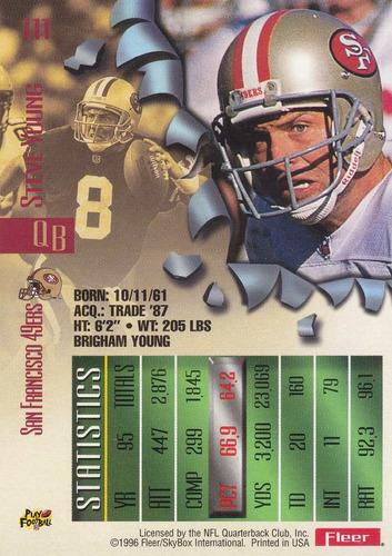 1996 fleer metal steve young qb 49ers