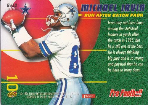 1996 fleer rac pack wr michael irvin