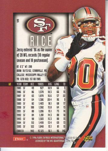 1996 fleer ultra sensations jerry rice wr 49ers