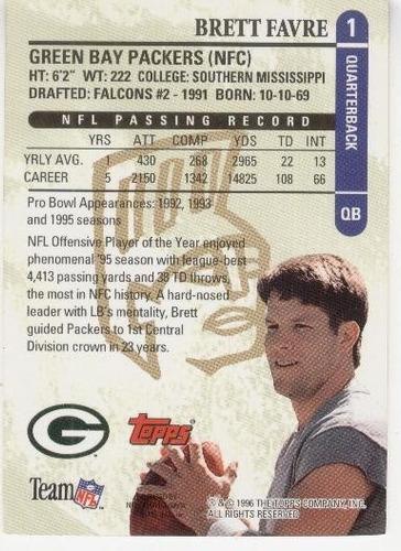 1996 gilt edge brett favre green bay packers qb