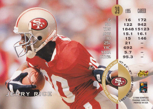 1996 leaf jerry rice wr 49ers