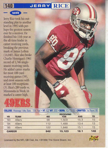 1996 pro line jerry rice wr 49ers