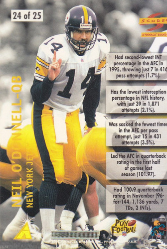 1996 score numbers game neil o'donnell qb steelers