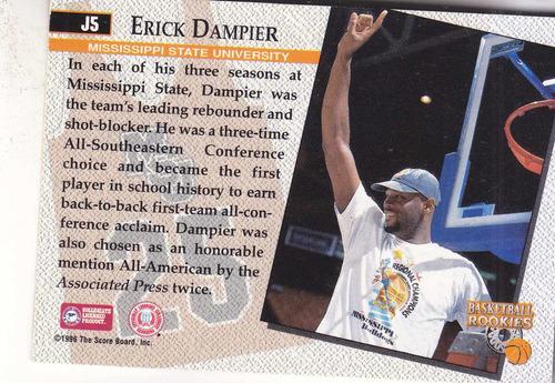 1996 scoreboard college jerseys erick dampier pacers
