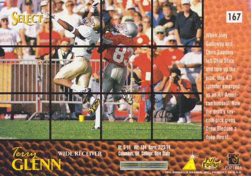 1996 select rookie terry glenn wr patriots