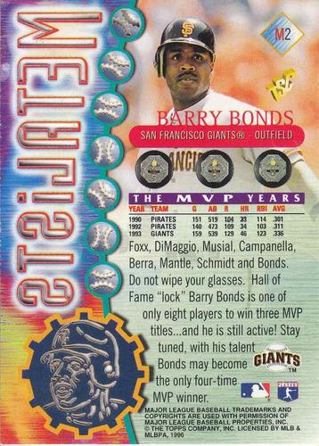1996 stadium club metalists barry bonds giants