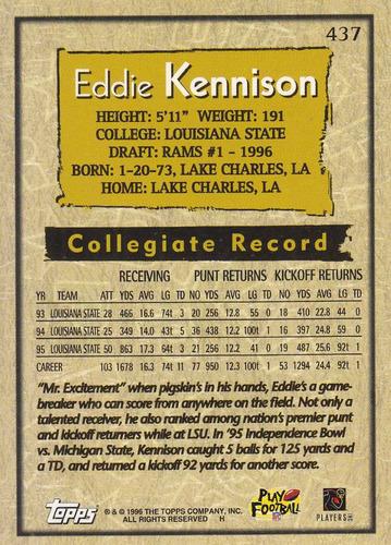 1996 topps draft pick rookie eddie kennison wr rams