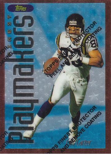 1996 topps finest bronze playmakers cris carter wr vikings