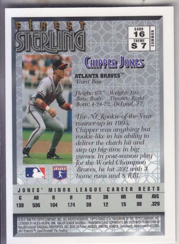 1996 topps finest sterling bronze chipper jones braves