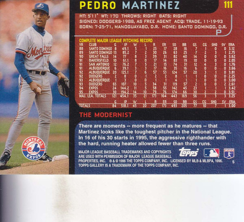 1996 topps gallery modernists pedro martinez p expos