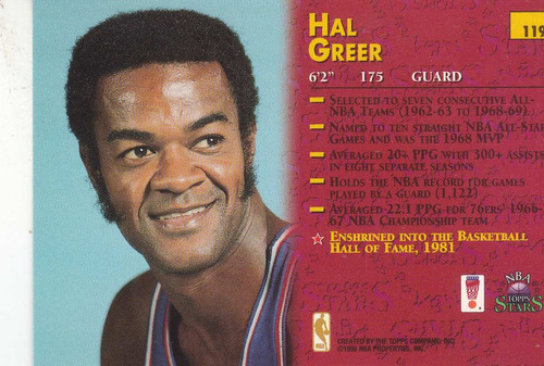 1996 topps stars hal greer sixers #119