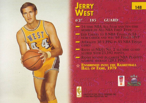 1996 topps stars jerry west lakers #148