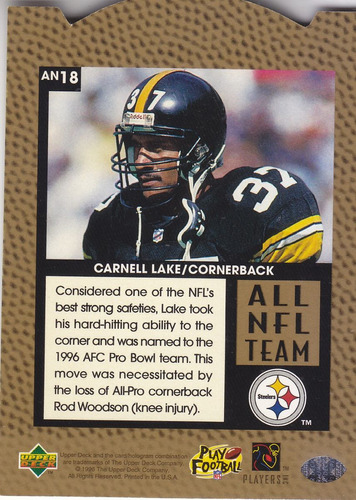 1996 upper deck silver all nfl team carnell lake cb steelers