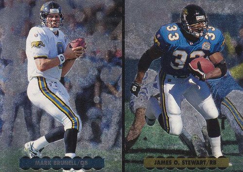 1996 upper deck silver helmet cards mark brunell j stewart