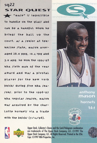 1997-98 collector's choice starquest anthony mason hornets