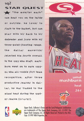 1997-98 collector's choice starquest jamal mashburn heat
