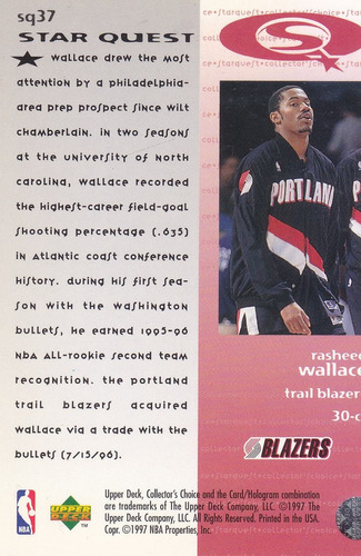 1997-98 collector's choice starquest rasheed wallace blazers