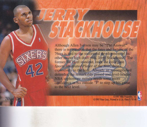 1997-98 flair hardwood leader jerry stackhouse sixers