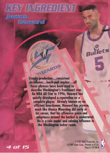 1997-98 fleer key ingredient juwan howard bullets