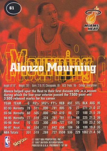 1997-98 skybox premium alonzo mourning heat