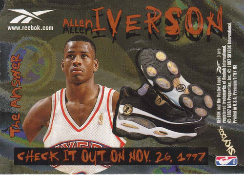 1997-98 skybox premium bronze shoe allen iverson